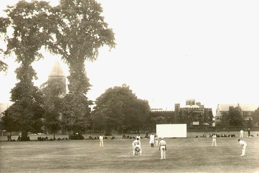 Cricket match in the School Close, Rugby School, between Rugby and Uppingham.  1920s |  IMAGE LOCATION: (Rugby Library)
