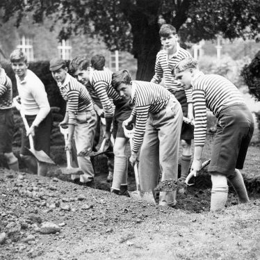 Rugby.  Schoolboys digging Air Raid Shelters