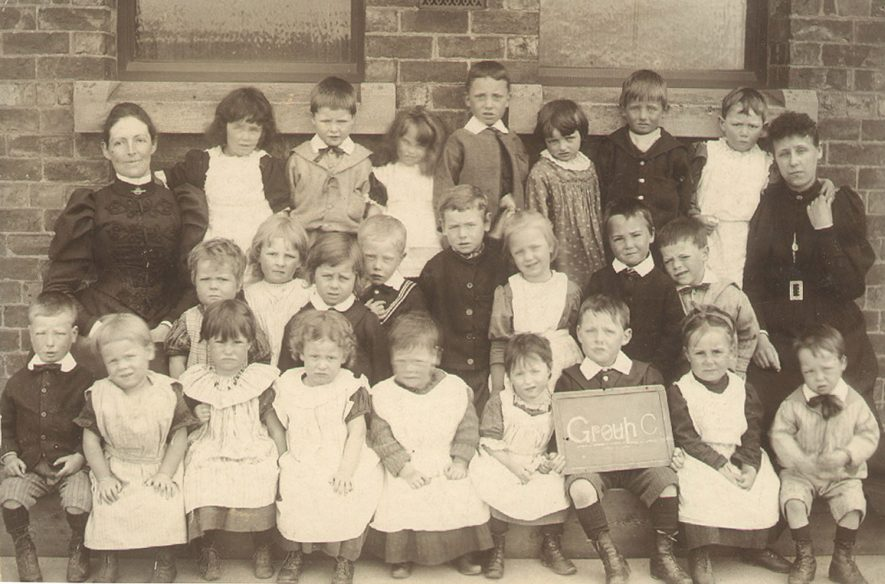 Long Lawford infants, group C, outside the school.  Circa 1896 |  IMAGE LOCATION: (Rugby Library)