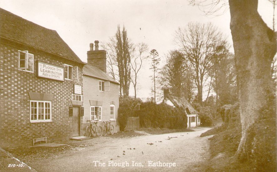 The Plough Inn, Eathorpe.  Sign on wall saying