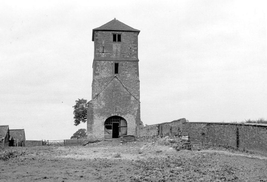 The tower of the ruined church at Kings Newnham.  1950s |  IMAGE LOCATION: (Rugby Library)