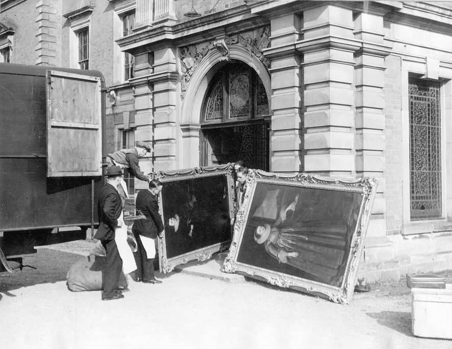 Works of art being removed from Newnham Paddox, Monks Kirby, prior to its demolition in 1952. Newnham Paddox was the home of the Earls of Denbigh. See - Victoria County History of Warwickshire, Volume 6. p 174.  |  IMAGE LOCATION: (Rugby Library)