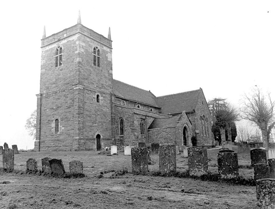 Exterior of St Lawrence church in Napton on the Hill following vandalism to virtually every stained glass window and damage to the interior and contents in May 1978.  [This photo was not taken in 1978 when the vandalism occurred. It was more likely earlier in the 1960's.] |  IMAGE LOCATION: (Rugby Library)