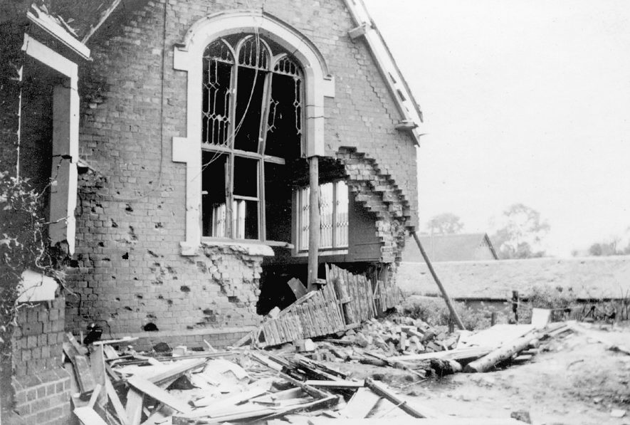 Air raid damage to the front schoolroom at Pailton school.  June 25th 1940 |  IMAGE LOCATION: (Rugby Library)