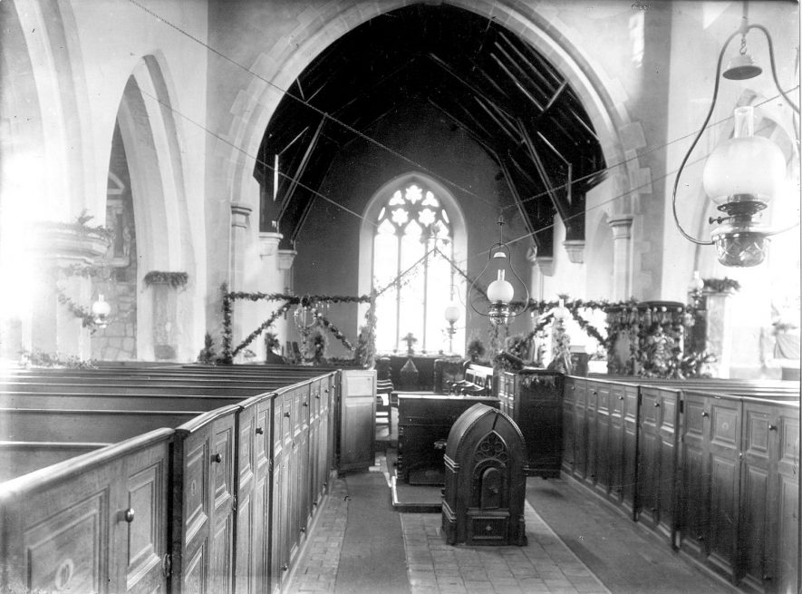 Interior of St John the Baptist church at Wolvey.  1896 |  IMAGE LOCATION: (Rugby Library)