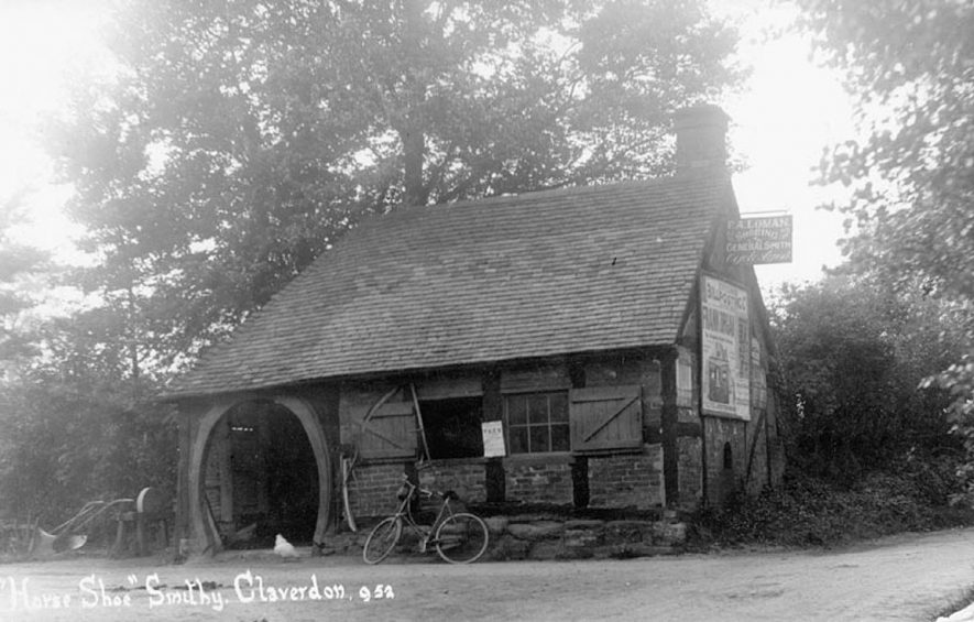 The Smithy, showing the horseshoe doorway.  c.1910 |  IMAGE LOCATION: (Warwickshire County Record Office) IMAGE DATE: (c.1910)