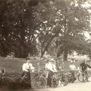 Alcester.  Decorated bicycles
