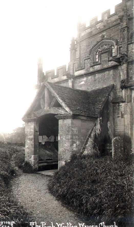 Wootton Wawen parish church porch exterior.  1900s |  IMAGE LOCATION: (Warwickshire Museums. Photographic Collections.)