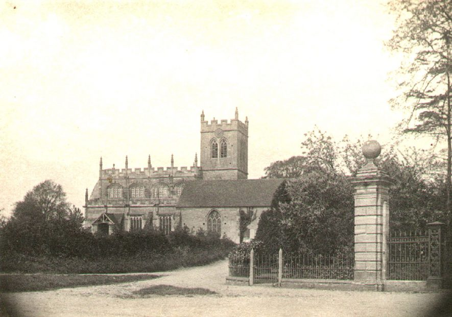 Wootton Wawen parish church exterior.  Photographed by father of Dr E.S. Stern of Central Hospital, Hatton.  1888 |  IMAGE LOCATION: (Warwickshire Museums. Photographic Collections.)