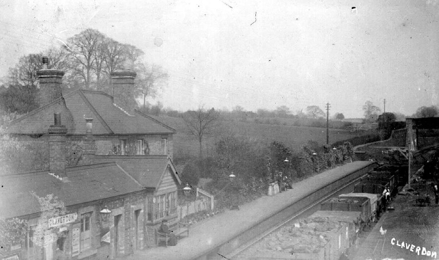 Claverdon Station showing a stationary goods train.  1900s |  IMAGE LOCATION: (Warwickshire County Record Office)