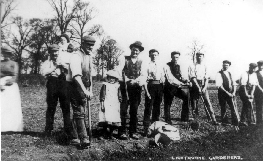 Lighthorne gardeners on the allotments near Newbold Barn.  1900s |  IMAGE LOCATION: (Warwickshire Museums. Geology)