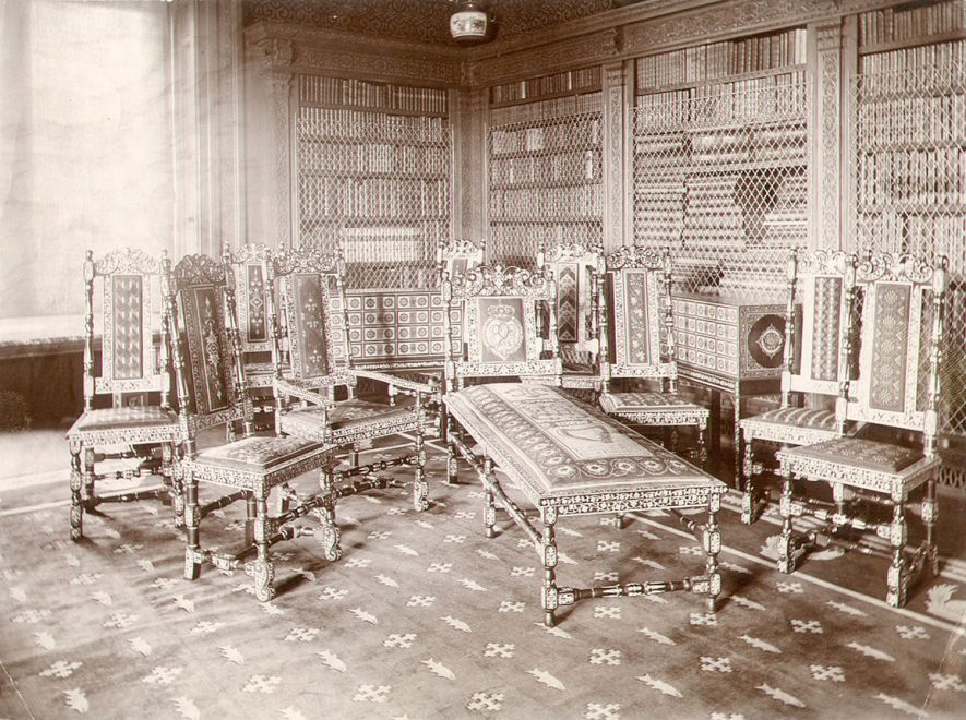 Charlecote Park, library interior.