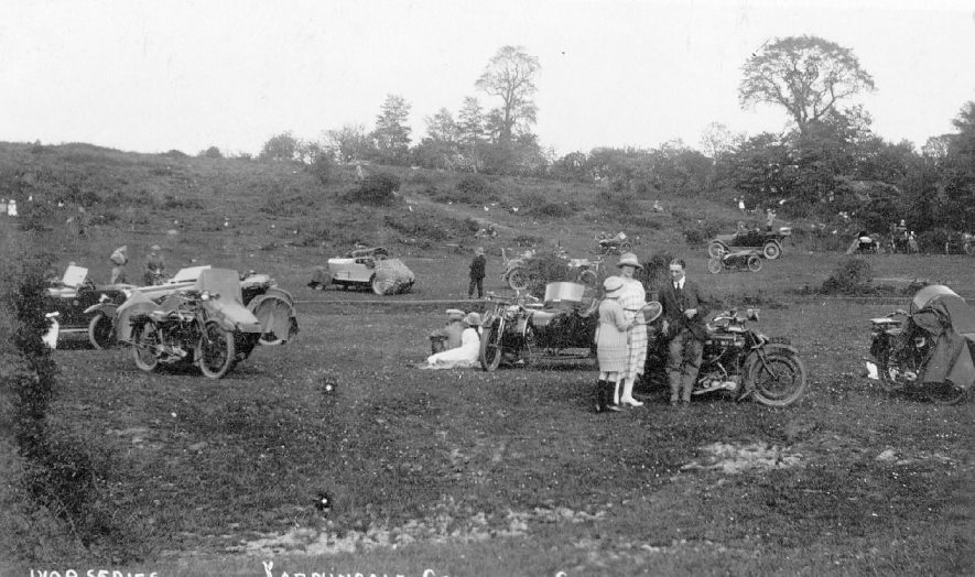 Yarningale Common, Claverdon, showing what appears to be a motor-cycle rally with several motor-cycles and sidecars.  1923 |  IMAGE LOCATION: (Warwickshire County Record Office)