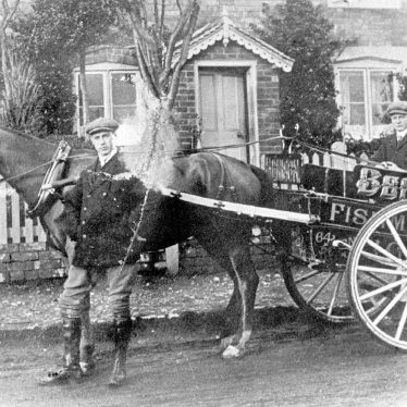 Ashorne.  Local fishmonger's horse and cart