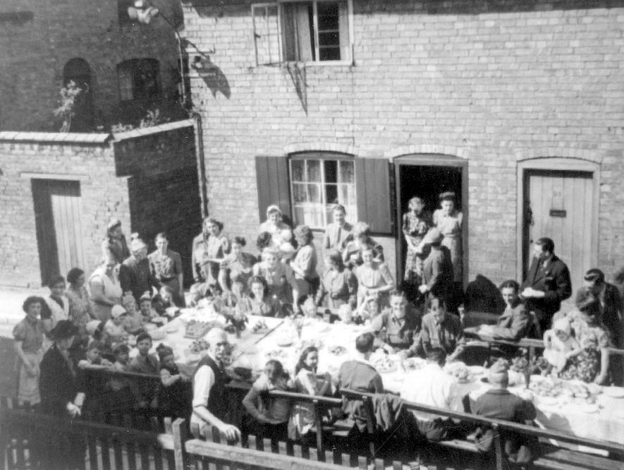 Scholars Lane V.E. day street party, Stratford upon Avon.  1945 |  IMAGE LOCATION: (Warwickshire Museums. Photographic Collections.)