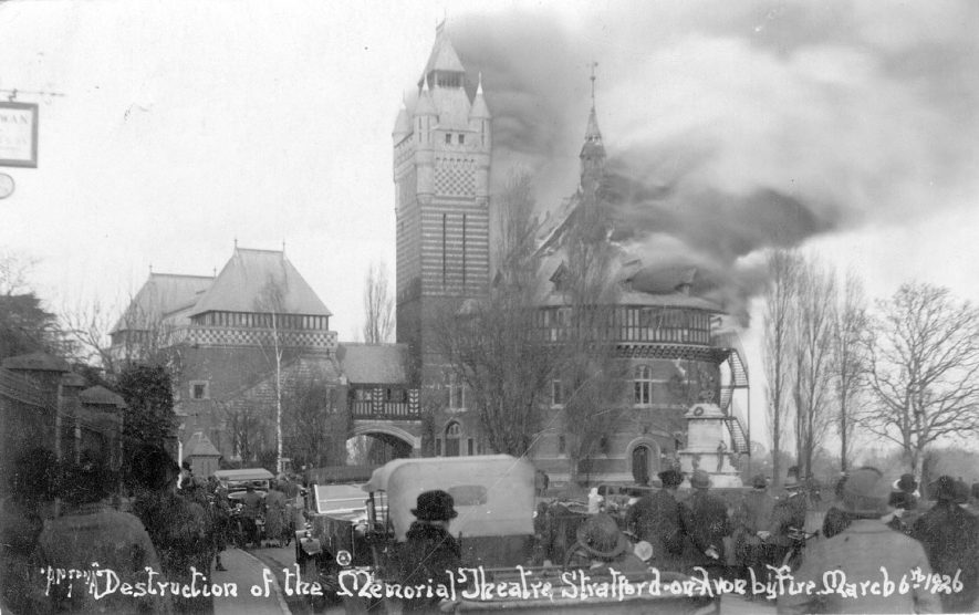 Destruction by fire of the Memorial Theatre, Stratford upon Avon.  March 6th 1926 |  IMAGE LOCATION: (Warwickshire Museums. Photographic Collections.)