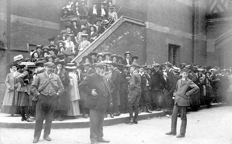 Group of men and women queuing for the gallery at the theatre, Stratford upon Avon.  1908 |  IMAGE LOCATION: (Warwickshire Museums. Photographic Collections.)