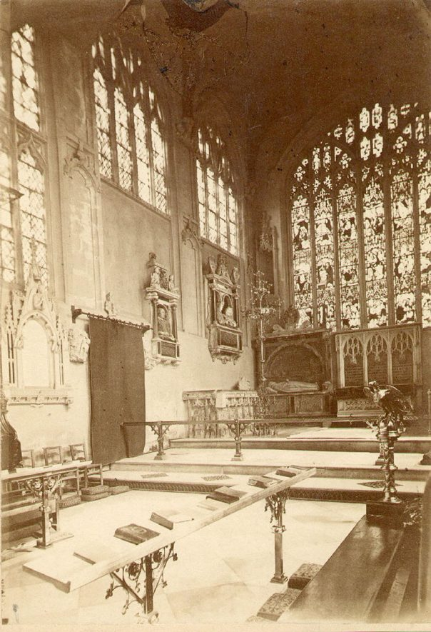 The chancel in Holy Trinity church, Stratford upon Avon.  1910s |  IMAGE LOCATION: (Warwickshire Museums. Photographic Collections.)