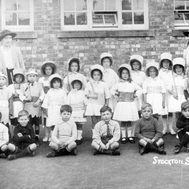 Stockton.  Group of schoolchildren in fancy dress