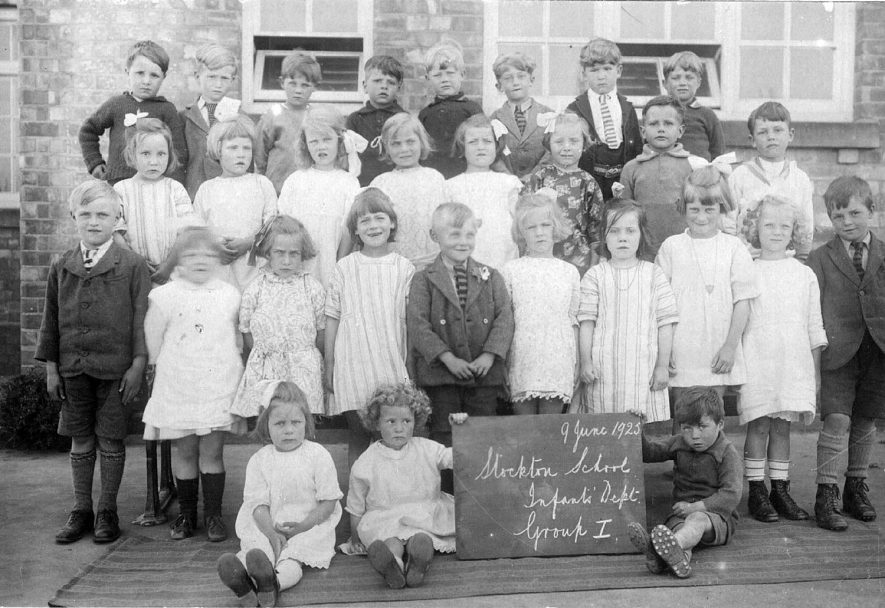 Stockton school infants department, group one.  June 9th 1923 |  IMAGE LOCATION: (Warwickshire Museums. Photographic Collections.)