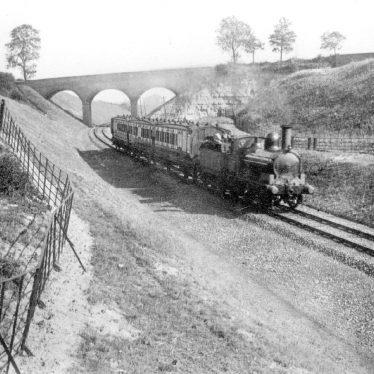 Stockton.  Train passing along new line