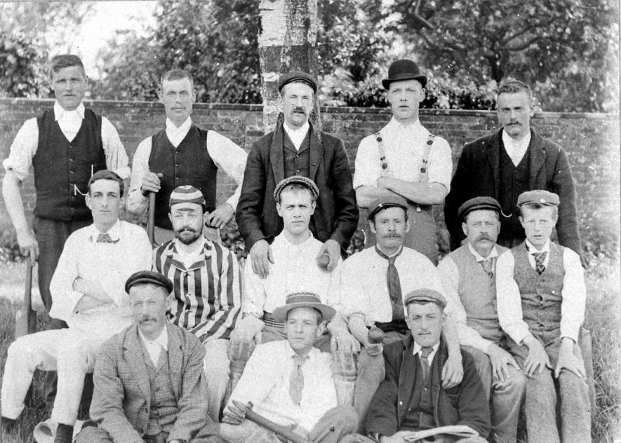 Members of the Long Itchington cricket club. Back row, second from left - Mr Hall, Jasper Cleaver, Mr Hall (brother to first Hall), George Wilks. Middle row - William Arkell, Dr Frederick William Barton, anon, William Spraggett, Owen Mills and Arthur Mills. Front row - anon, Mr Smith,