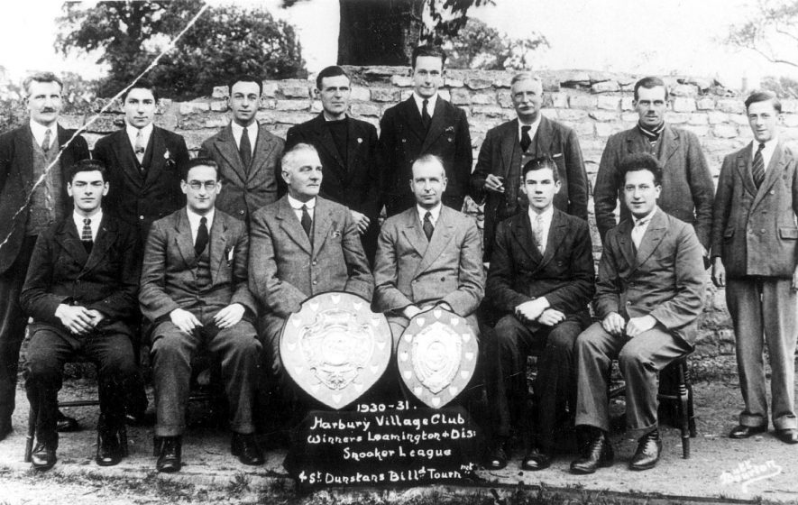 The Harbury village club snooker team, winners of the Leamington & District snooker league.  1930/1 |  IMAGE LOCATION: (Warwickshire Museums. Photographic Collections.)