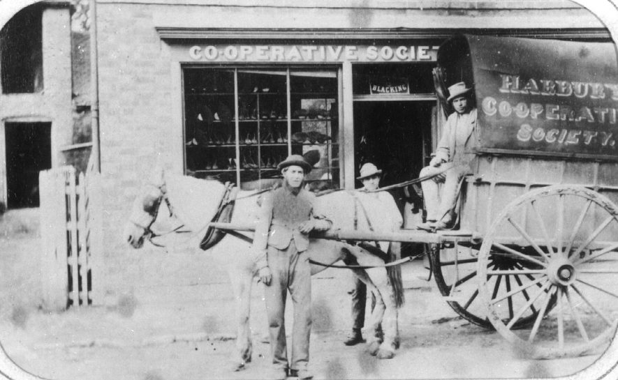 Harbury Co-operative shop and horse and cart delivery wagon.  1890s |  IMAGE LOCATION: (Warwickshire Museums. Photographic Collections.) PEOPLE IN PHOTO: Dickins, Mr
