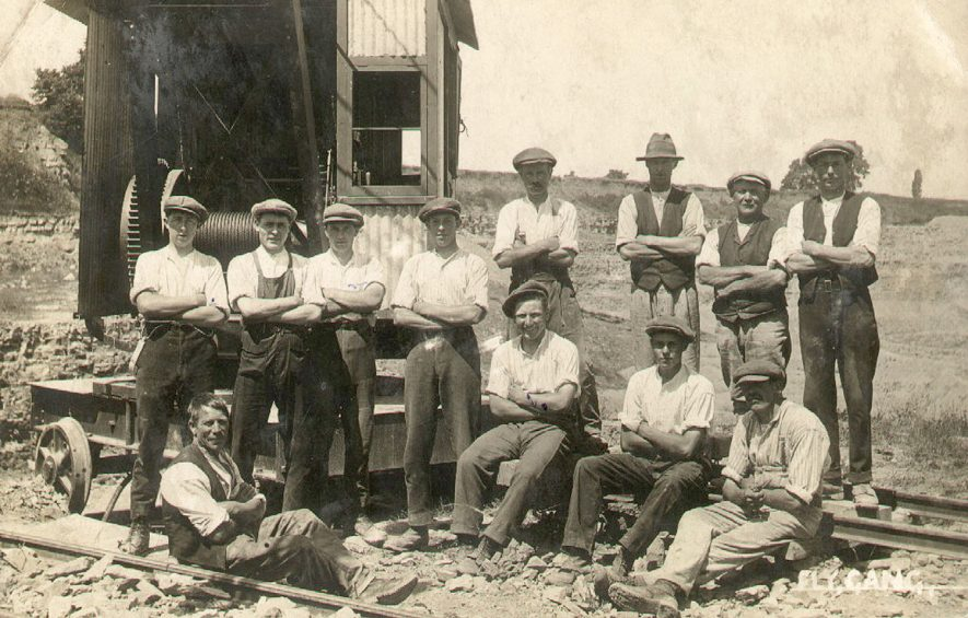 Harbury cement works fly group. Back row from left to right: Percy Cowley, Harold Payne, Turner, Cecil Gamage, B. Holder, Frank Walton, M. Badger, N. Bourton.  Front row, left to right: Freddy Castle, Harry Garrett, Frank Fleycer, Albert Shaler.  circa 1920 |  IMAGE LOCATION: (Warwickshire Museums. Photographic Collections.) PEOPLE IN PHOTO: Wolton, Frank, Wolton as a surname, Turner, Mr, Turner as a surname, Shaler as a surname, Shaler, Albert, Payne as a surname, Payne, Harold, Holder as a surname, Holder, Mr B, Garrett, Harry, Garratt as a surname, Gamage as a surname, Gamage, Cecil, Fletcher, Frank, Fletcher as a surname, Cowley as a surname, Cowley, Percy, Castle as a surname, Castle, Freddy, Bourton as a surname, Bourton, Mr N, Badger, Mr M, Badger as a surname