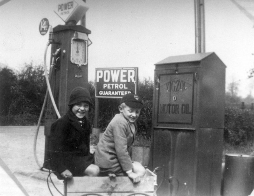Tom Edwards at Bishops Itchington filling station.  1930s |  IMAGE LOCATION: (Warwickshire Museums. Photographic Collections.) PEOPLE IN PHOTO: Edwards as a surname, Edwards, Tom