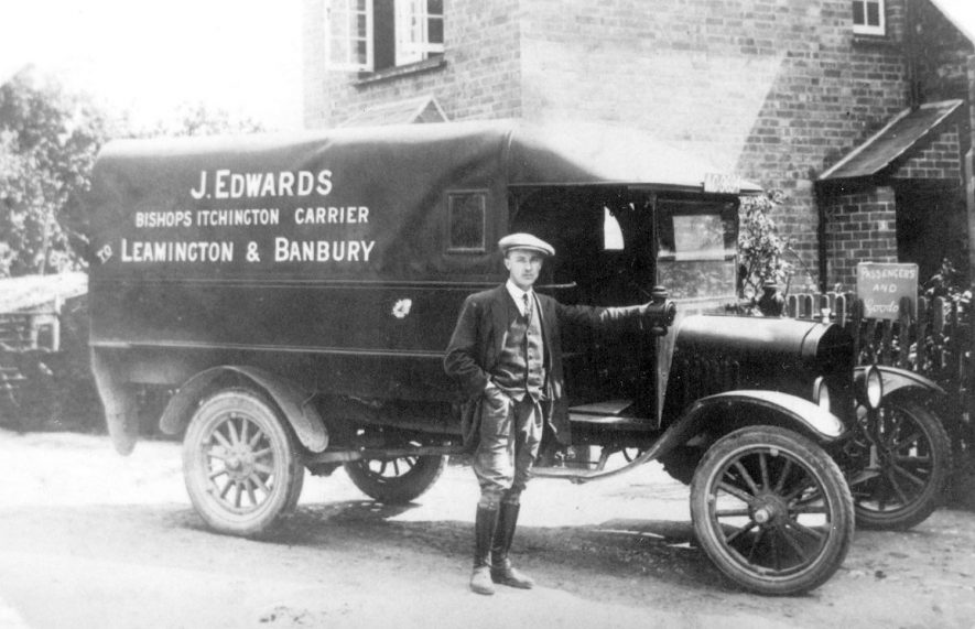 Van of Tom Edwards, carrier of Bishops Itchington.  1930s |  IMAGE LOCATION: (Warwickshire Museums. Photographic Collections.) PEOPLE IN PHOTO: Edwards, Tom