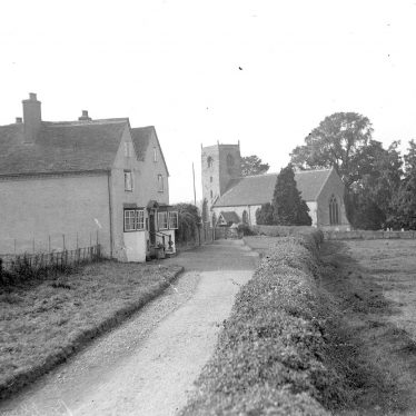 Bubbenhall.  St Giles church and cottages