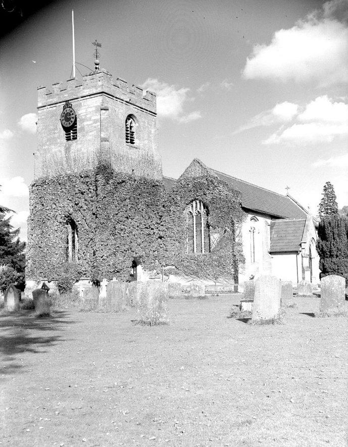 Exterior of St Peter's church and churchyard, Barford.  26th September 1954 |  IMAGE LOCATION: (Warwickshire County Record Office)