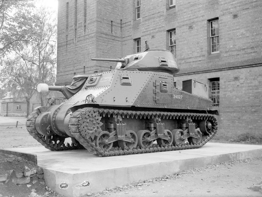 Lord Montgomery's tank at Budbrooke Barracks.  October 13th 1948 |  IMAGE LOCATION: (Warwickshire County Record Office)