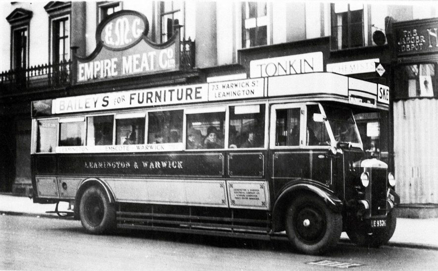 Motor bus in Victoria Terrace, Leamington Spa.  1930s |  IMAGE LOCATION: (Warwickshire County Record Office)