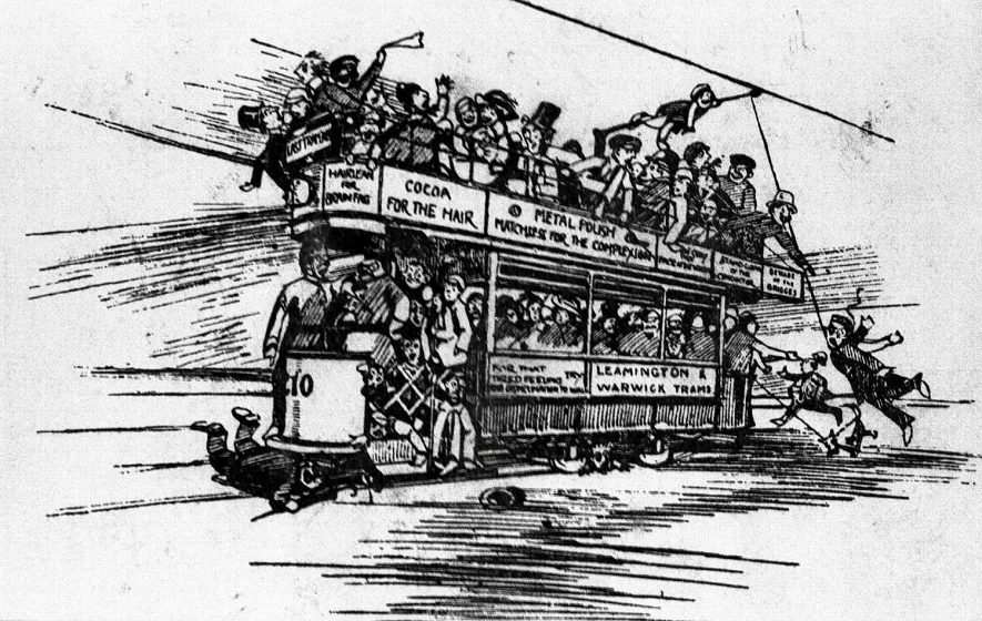 Cartoon picture of a Leamington and Warwick tram.  1910s |  IMAGE LOCATION: (Warwickshire County Record Office)