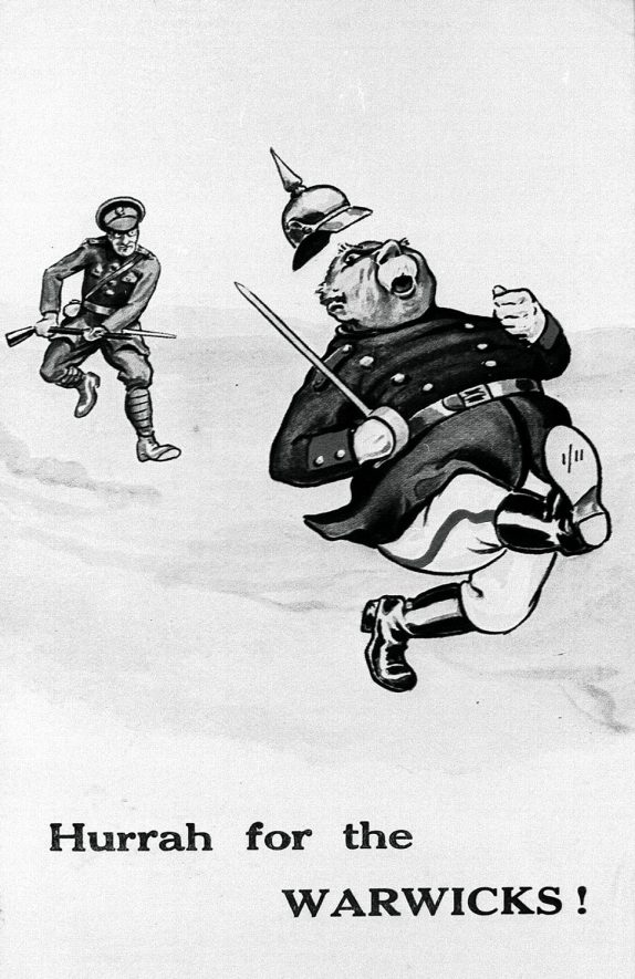 Cartoon picture of soldiers of the Warwickshire Regiment.  1910s |  IMAGE LOCATION: (Warwickshire County Record Office)