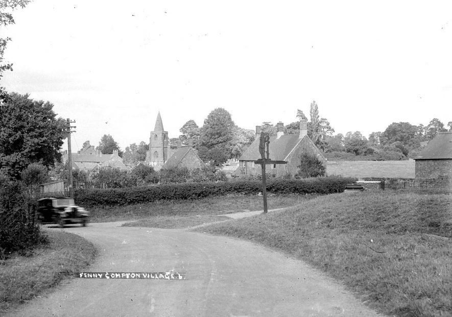 Fenny Compton view of the village showing the church.  1930s |  IMAGE LOCATION: (Warwickshire County Record Office)