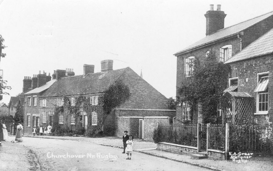 Part of village street with women and children, Churchover.  1910s |  IMAGE LOCATION: (Warwickshire County Record Office)