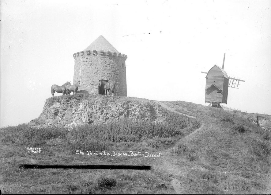 Burton Dassett windmill and beacon. 1930s.The structure now known as 'The Beacon' may have been a windmill. Around 1600 it was known as 'The Lodge'. There are several references which may refer to it. The earliest being to a 'stonmilne' which was working before 1367. |  IMAGE LOCATION: (Warwickshire County Record Office)