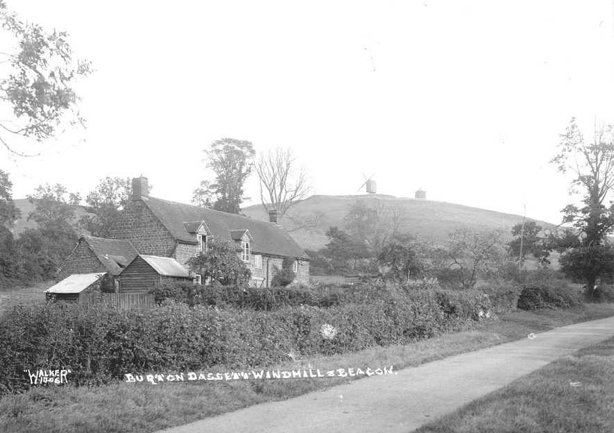 The windmill and beacon at Burton Dassett.  1930s    IMAGE LOCATION: (Warwickshire County Record Office)