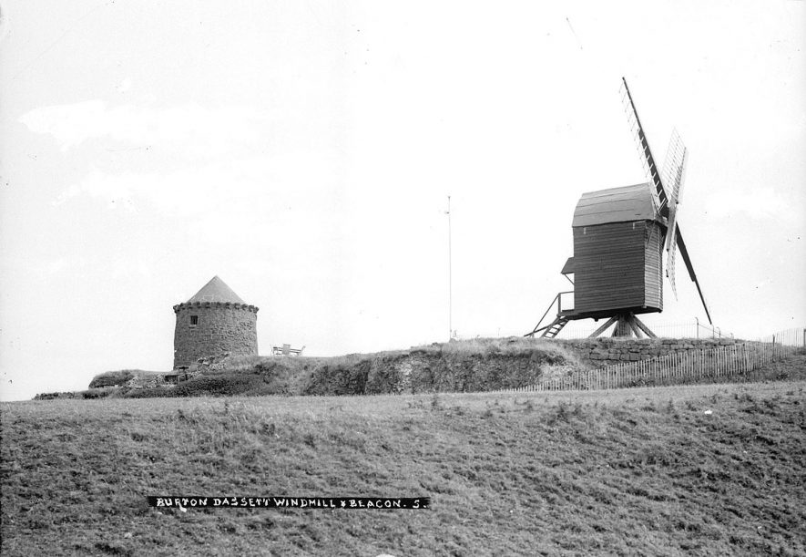 The windmill and beacon at Burton Dassett.  1930s |  IMAGE LOCATION: (Warwickshire County Record Office)