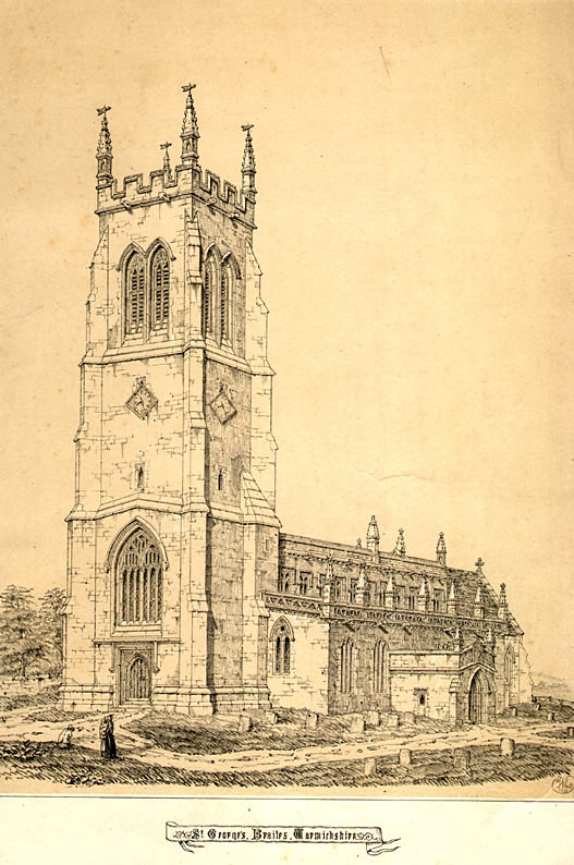 Old line drawing of the exterior of St George's Church, Lower Brailes.  1850 |  IMAGE LOCATION: (Warwickshire County Record Office)