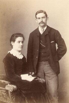 Eleanor Archer, with Hugh Wesley Strong, Harbury.  1890s [Eleanor was never married but was engaged to Mr Wesley Strong for a short time in 1888] |  IMAGE LOCATION: (Warwickshire County Record Office) PEOPLE IN PHOTO: Archer as a surname, Archer, Eleanor