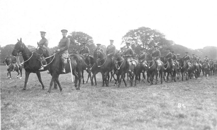A troop of mounted cavalry in a park in Warwick.  1910s |  IMAGE LOCATION: (Warwickshire County Record Office)