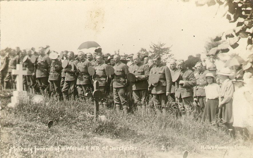 Military funeral of a Warwick N.R. at Dorchester.  1914  This is not in Warwickshire and will not appear on the map. |  IMAGE LOCATION: (Warwickshire County Record Office)