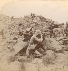 The Warwickshire Regiment skirmishing with Boers near Weppener, South Africa.  1901 |  IMAGE LOCATION: (Warwickshire County Record Office)