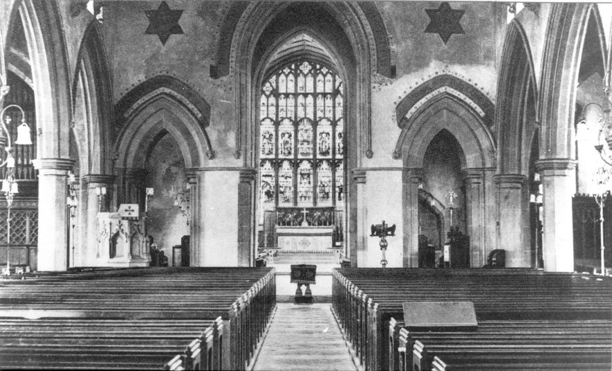 Interior of St Mary's Church, Atherstone, looking east.  1940s |  IMAGE LOCATION: (Warwickshire County Record Office)