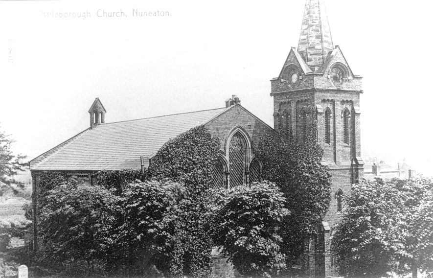 Exterior view of Holy Trinity church, Attleborough.  1900s |  IMAGE LOCATION: (Warwickshire County Record Office)