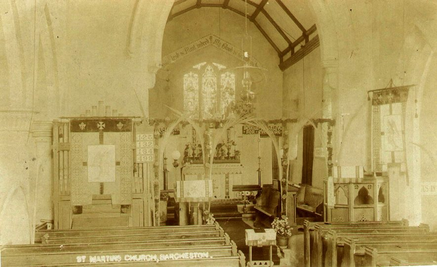 Interior view of St Martin's church, Barcheston.  1920s |  IMAGE LOCATION: (Warwickshire County Record Office)